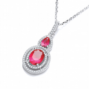 "J-Jaz Micro Pave' Red & White Drop Pendant with 18"" Chain"